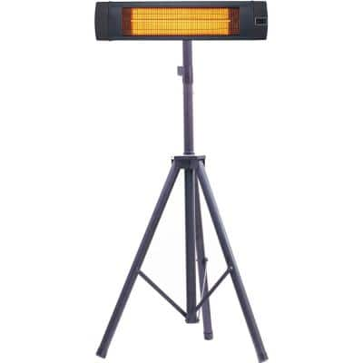 34.6 in. 1500-Watt Infrared Electric Patio Heater with Remote Control and Tripod Stand in Black