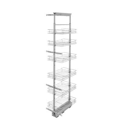 14 in. Chrome 4-Basket Pull-Out Pantry with Soft-Close Slides