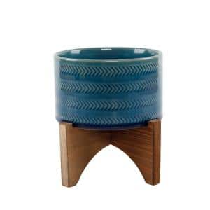 5 in. Glass Teal Blue Arrow Ceramic Plant Pot on Wood Stand Mid-Century Planter