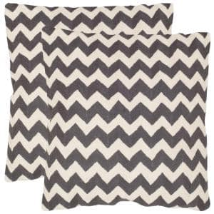 Tealea Chainstitch Charcoal Striped Down Alternative 18 in. x 18 in. Throw Pillow (Set of 2)