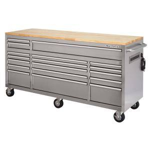 72 in. 18-Drawer 24 in. D Mobile Workbench with Solid Wood Top Stainless Steel