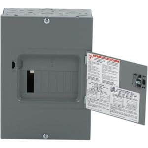 QO 100 Amp 6-Space 12-Circuit Indoor Main Lug Load Center with Surface Mount Cover with Door
