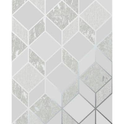 Vittorio Geometric Grey/Silver Paper Peelable Roll (Covers 56 sq. ft.)