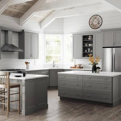 Designer Series Melvern Assembled 36x34.5x23.75 in. Base Kitchen Cabinet in Heron Gray