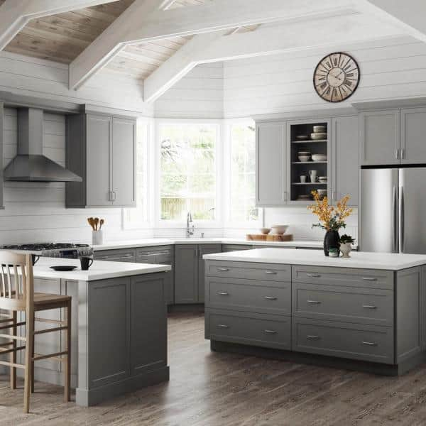 Hampton Bay Designer Series Melvern Partially Assembled 42x34 5x23 75 In Corner Sink Base Kitchen Cabinet In Heron Gray Bsck42 Mlgr The Home Depot