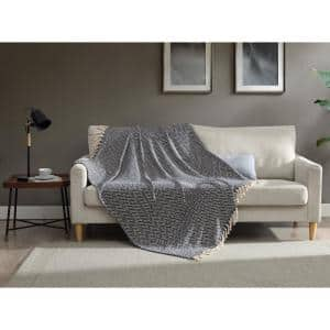 50 In X 60 In Cotton Blend In Blue And White Striped Throw Blanket The Home Depot