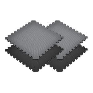 Gray/Black 24 in. x 24 in. EVA Foam Truly Reversible Sport MMA Interlocking Tile (20-Tile)