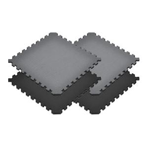 Gray/Black 24 in. x 24 in. EVA Foam Truly Reversible Sport MMA Interlocking Tile (24-Tile)