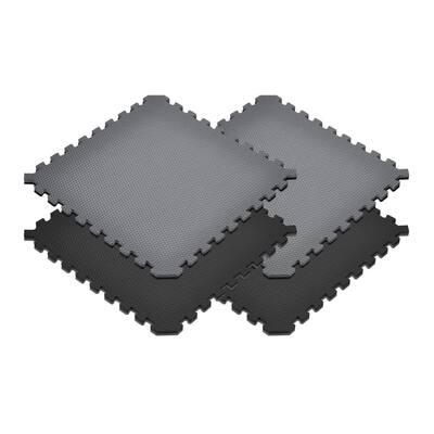 Gray/Black 24 in. x 24 in. EVA Foam Truly Reversible Sport MMA Interlocking Tile (36-Tile)