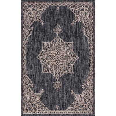 Charcoal Gray Antique Outdoor 4 ft. x 6 ft. Area Rug