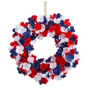 18 in. Americana Patriotic Hydrangea Artificial Wreath Red White and Blue