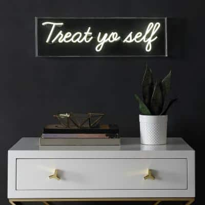 Treat You Self 6 in. Yellow Contemporary Glam Acrylic Box USB Operated LED Neon Lamp