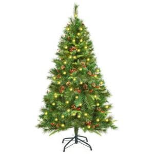 5 ft. Pre-Lit Hinged Artificial Christmas Tree with 150 LED Lights