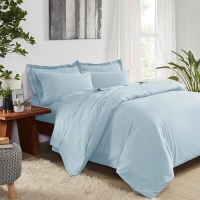 Pre-Washed Light Blue Queen Cotton Duvet Set (3-Piece)