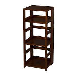 34 in. Mocha Walnut Wood 3-shelf Standard Bookcase