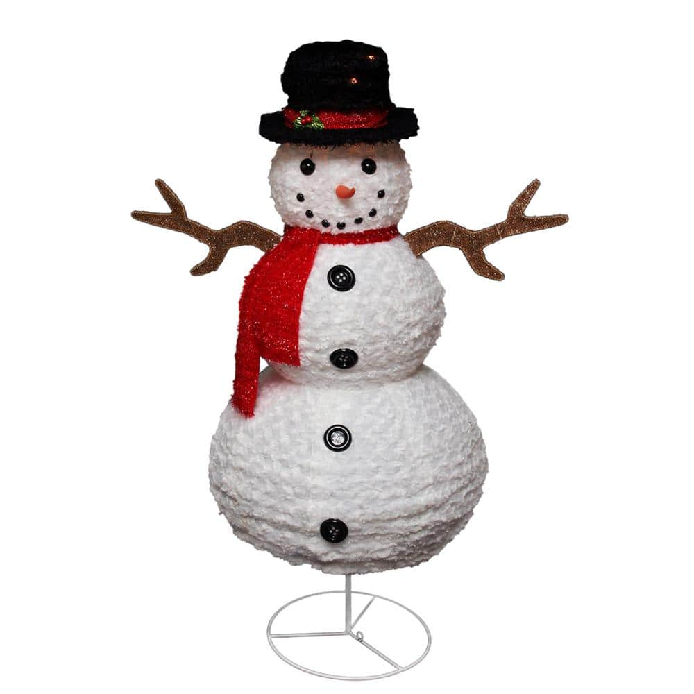 Northlight 48 In Christmas Lighted Chenille Swirl Snowman Outdoor Decoration 31581918 The Home Depot