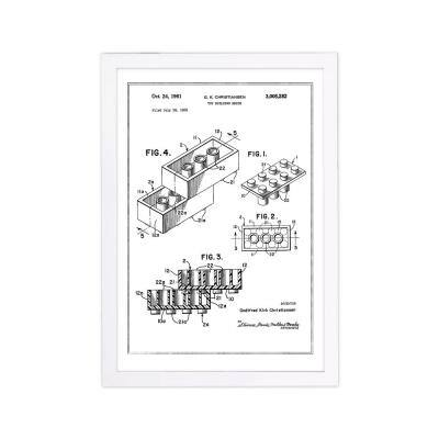 Lego toy building brick 1961, Silver Metallic' Framed Fantasy Art Print 19 in. x 13 in.