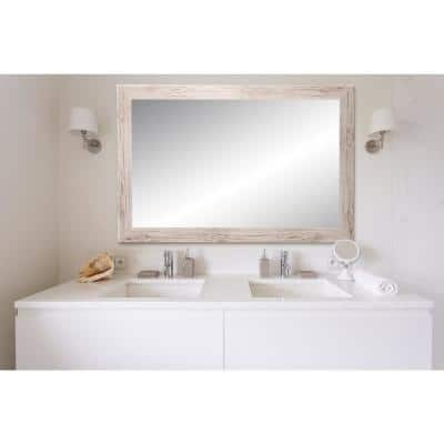 Large Rectangle Oyster Cream Hooks Modern Mirror (50 in. H x 32 in. W)