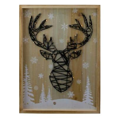 15.75 in. Wooden Reindeer with Snowflakes and Trees Lighted Christmas Box