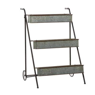 Large Multi-colored Metal Rack Planter for Outdoors w/ Wheels and Handles, 27''x34''