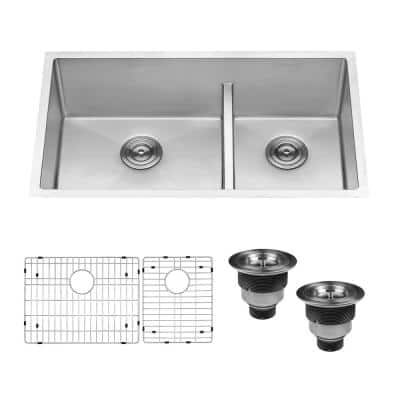 33 in. Low-Divide Double Bowl 60/40 Undermount Tight Radius 16-Gauge Stainless Steel Kitchen Sink