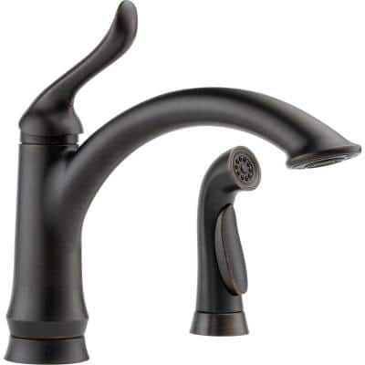 Linden Single-Handle Standard Kitchen Faucet with Side Sprayer in Venetian Bronze