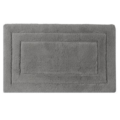 Double Border Ringspun Cotton Collection Pale Gray 2 ft. x 5 ft. Bath Accent Rug