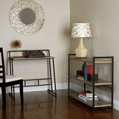 33 in. Rectangular Gray Writing Desk with Open Storage