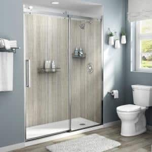 Passage 32 in. x 60 in. x 72 in. 4-Piece Glue-Up Alcove Shower Wall in Pewter Travertine