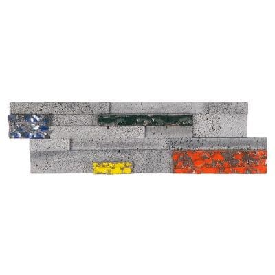 Cliffstone Multi-Color Ledger Panel 7.08 in. x 23.62 in. 10mm Natural Lava Stone Mosaic Tile (1.16 sq. ft.)