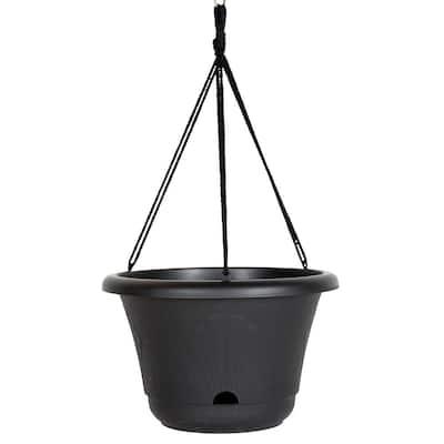 Lucca 13 in. Black Plastic Self-Watering Hanging Basket Planter