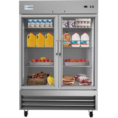 54 in. 47 cu. ft. Commercial 2-Glass Door Reach In Refrigerator in Stainless Steel