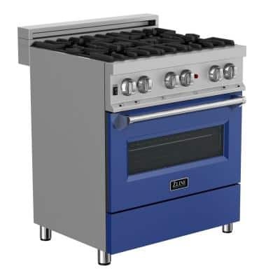 ZLINE 30 in. 4.0 cu. ft. Dual Fuel Range with Gas Stove and Electric Oven in DuraSnow Stainless Steel & Blue Matte Door