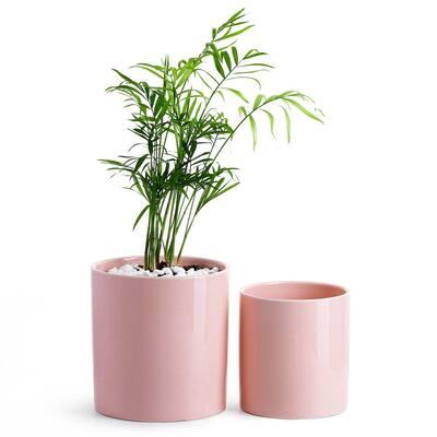 4.9 in. Plus 6.1 in. Ceramic Cylinder Plant Pot Set