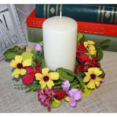 3.25 in. Red and Yellow Pansy Candle Ring (Set of 2)