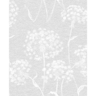 Carolyn Light Grey Dandelion Paper Strippable Roll (Covers 56.4 sq. ft.)