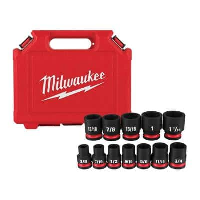 SHOCKWAVE 1/2 in. Drive SAE 6 Point Impact Socket Set (12-Piece)