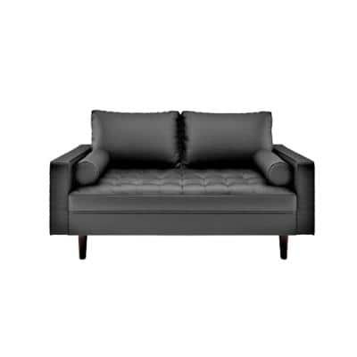 Lincoln 50.4 in. Black Tufted Faux Leather 2-Seater Loveseat with Square Arms