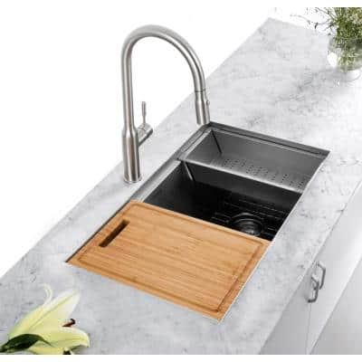 All-in-One Undermount Stainless Steel 33 in. 50/50 Double Bowl Kitchen Workstation Sink with Accessory Kit