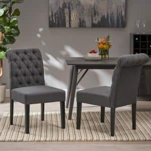 Broxton 2-Piece Dark Grey and Matte Black Tufted Dining Chairs