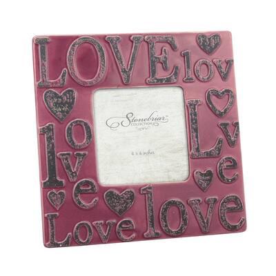 1-Opening 4 in. x 4 in. Worn Marsala Ceramic Love Picture Frame