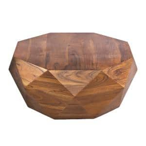 Diamond 34 in. Dark Brown Medium Round Wood Coffee Table with Smooth Top