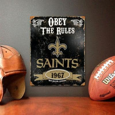 14.5 in. H x 11.5 in. D Heavy Duty Steel New Orleans Saints Embossed Metal Sign Wall Art