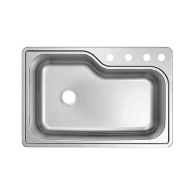 Stainless Steel 33 in. 18-Gauge Single Bowl Top Mount Kitchen Sink