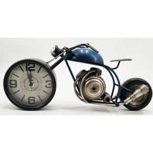 Rustic and Blue Metal Motorcycle Table Clock