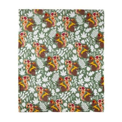 Fall Squirrel Green 50 in. x 60 in. Velvet Plush Throw Blanket