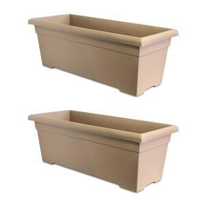 28 in. Sandstone Plastic Romana Deck Planter (2-Pack)