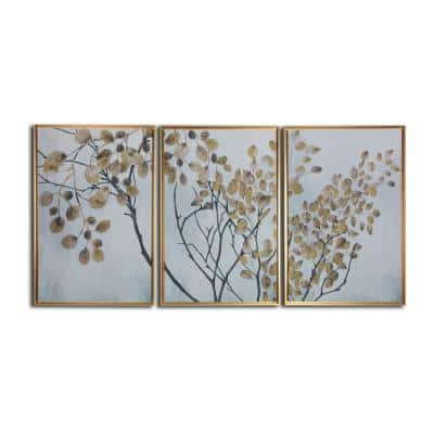 Asian Branches 3-Piece Floating Canvas Botanical Floater Frame Nature Art Print 24 in. x 48 in.