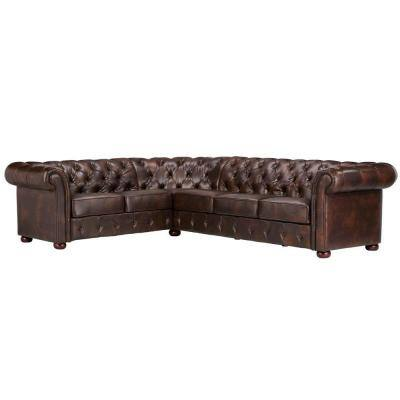 Radcliffe Chocolate Faux Leather 6-Seater L-Shaped Chesterfield Sectional Sofa with Wood Legs