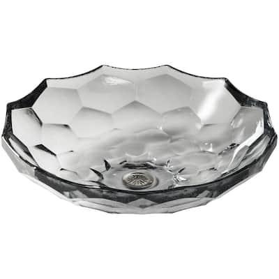 Briolette Glass Vessel Sink in Ice